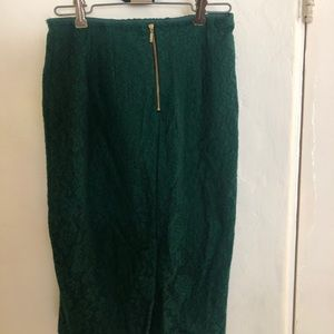 Zara green lace pencil skirt